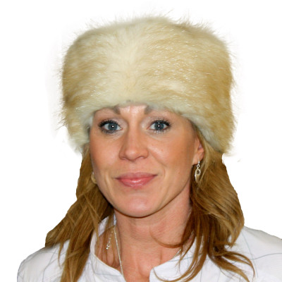 BEAVER FUR PILL BOX HAT - BLONDE