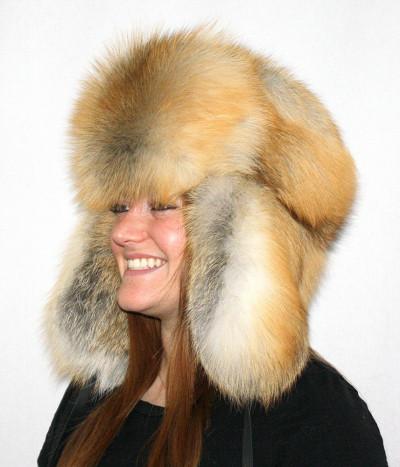 GOLDEN ISLAND FOX FUR RUSSIAN TROOPER STYLE HAT