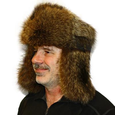 RACCOON FUR RUSSIAN TROOPER STYLE HAT