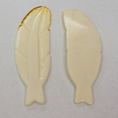 REAL BONE CARVED FEATHERS WITH BROWN TIPS - (QTY 5)
