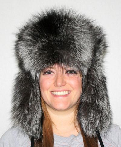 SILVER FOX FUR RUSSIAN TROOPER STYLE HAT