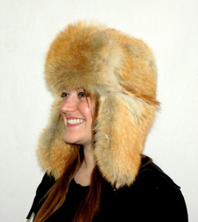 RED COYOTE FUR RUSSIAN TROOPER STYLE HAT
