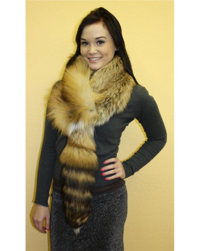 Red Fox Fur Scarf With Tail #RDTL
