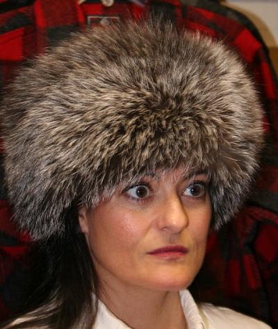 SILVER FOX FUR PILL BOX HAT
