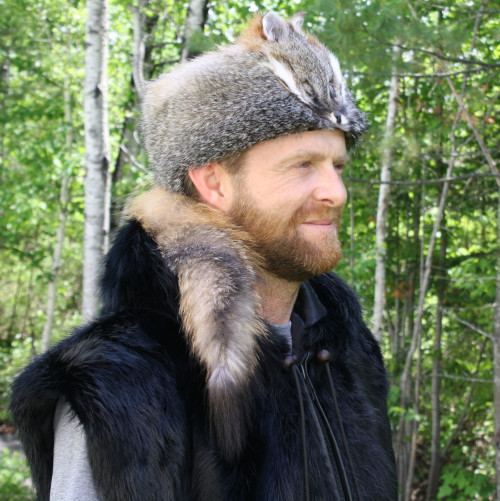 GRAY FOX FUR DAVY CROCKETT HAT