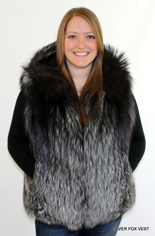 Glacier Wear - Women s Silver Fox Hooded Fur Vest For Sale ca80abb0dd02