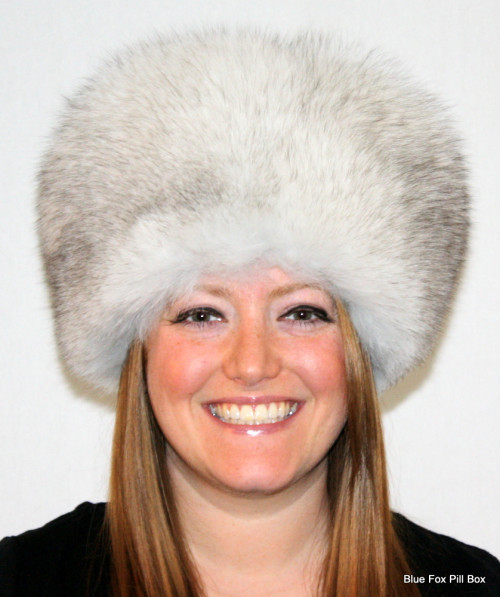 Glacier Wear - Blue Fox Pill Box Style Fur Hat For Sale 9ac85d1b9f9