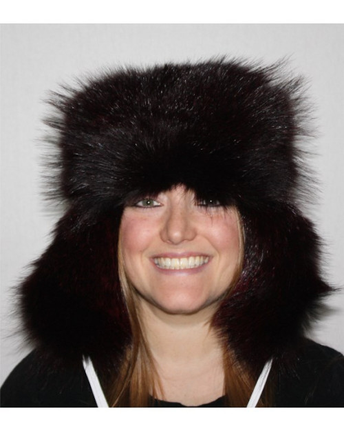 BADGER FUR & LEATHER RUSSIAN TROOPER STYLE HAT - BURGUNDY-DYED