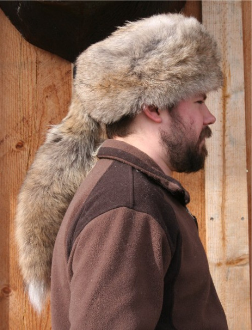 Glacier Wear Coyote Daniel Boone Style Fur Hat For Sale
