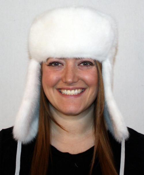 84b09ba257a84 Glacier Wear - white Mink Trooper Style Fur Hat For Sale