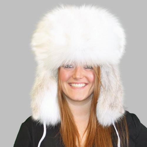ARCTIC GOLDEN ISLAND FOX FUR RUSSIAN TROOPER STYLE HAT 96b9244f2692