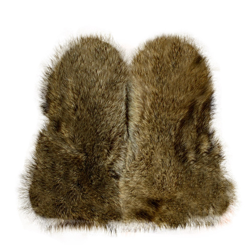 MEN NATURAL COYOTE FUR MITTENS LEATHER TRIM REMOVABLE INSIDE ALL SIZES