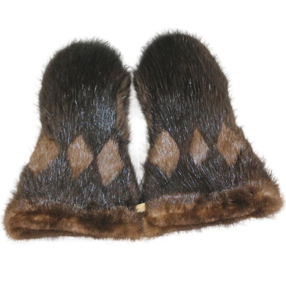Winter men/'s long beaver fur mittens